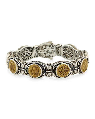Silver and Bronze Coin Bracelet
