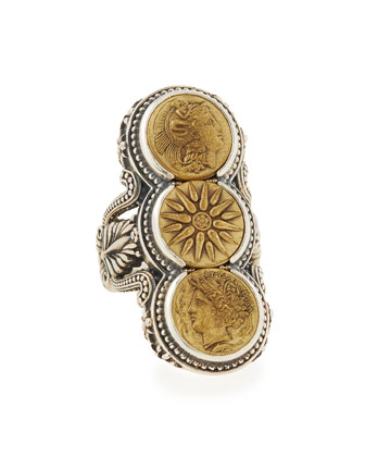Silver & Bronze Triple Coin Ring