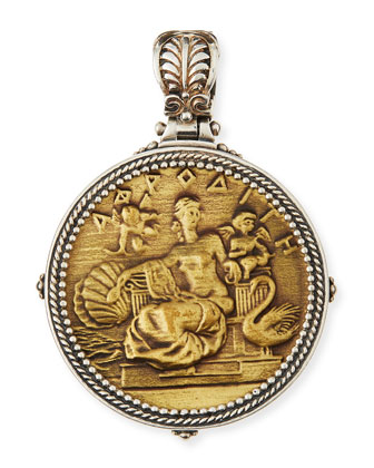 Silver & Bronze Aphrodite Coin Pendant