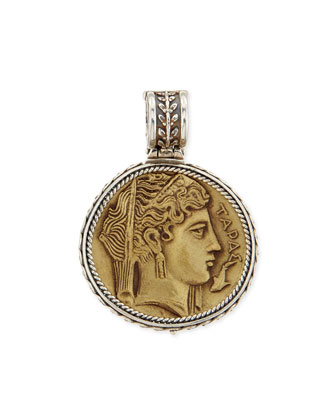 Silver and Bronze Demeter Coin Pendant
