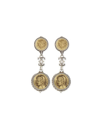 Silver and Bronze Double-Drop Coin Earrings