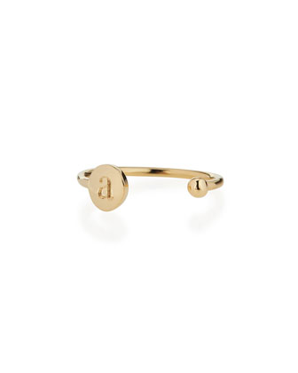 Rocha 14k Gold Initial Open Ball Ring
