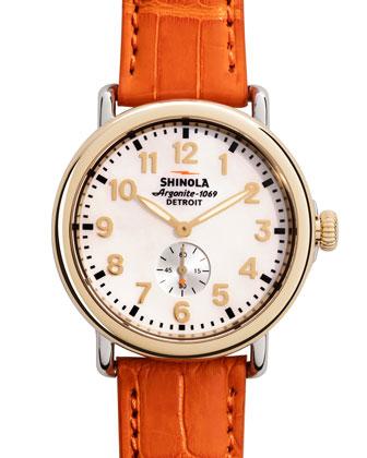 Runwell Golden Watch with Orange Alligator Strap, 38mm