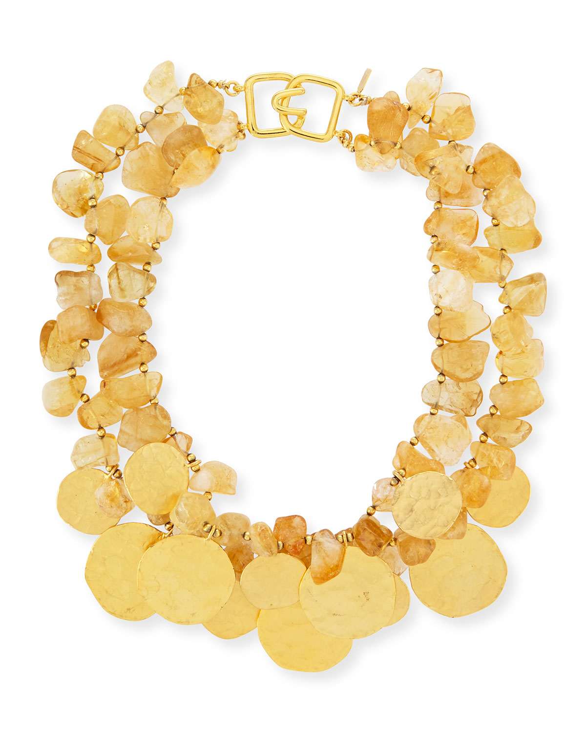 2-Row Citrine Glass & Golden Disc Necklace - Kenneth Jay Lane
