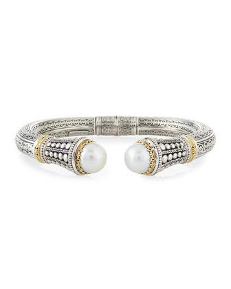 Silver & 18k Gold Pearl-Tip Hinge Bracelet