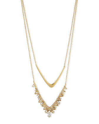 Jagged Marquis Cluster Double-V Pendant Necklace