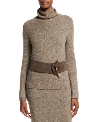 Long-Sleeve Cashmere Sweater, Midi Skirt & Accessories