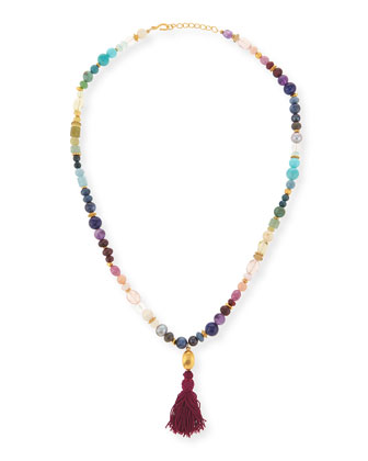 Rainbow Multi-Stone Long Necklace