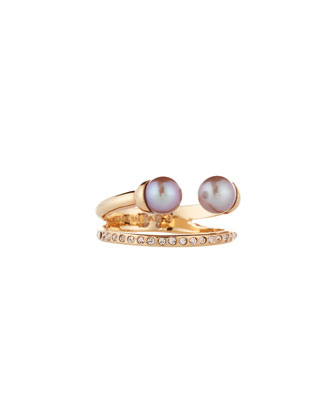 Ultra Mini Double Pearl & Crystal Ring