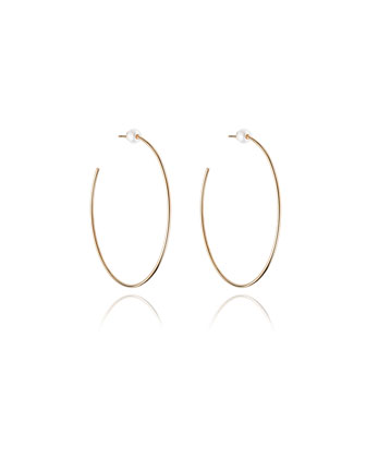 Large Rose Gold-Plated Pearl Hoop Earrings