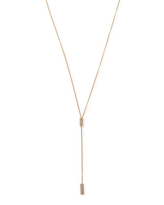 Mia Rose Gold-Plated Crystal Lariat Necklace