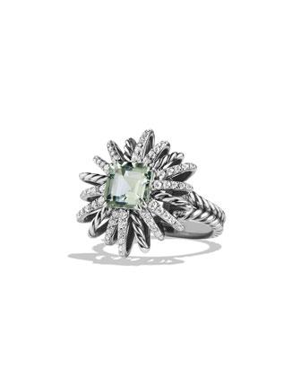 23mm Diamond & Prasiolite Starburst Ring