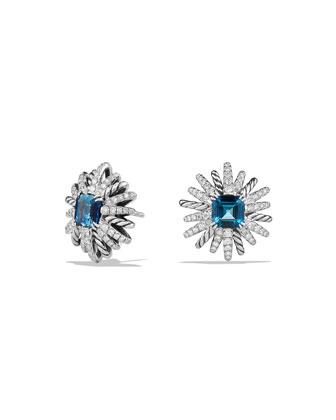 19mm Starburst Diamond & Amethyst Earrings