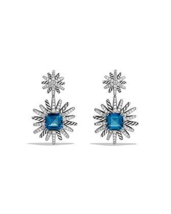 19mm Diamond & Hampton Blue Topaz Starburst Earrings