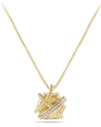 Petite Cable Wrap Champagne Citrine Pendant Necklace