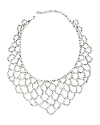 Scalloped-Lace Crystal Bib Necklace