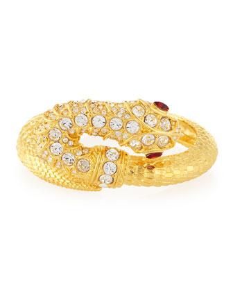 Embellished Snake Bracelet, Gold/Crystal