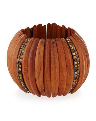 Embellished Wooden Bracelet W/Crystals