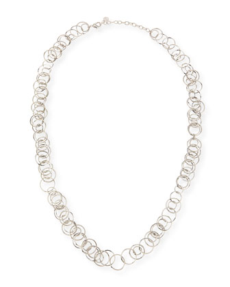 Silvertone Orbital Layering Links Necklace