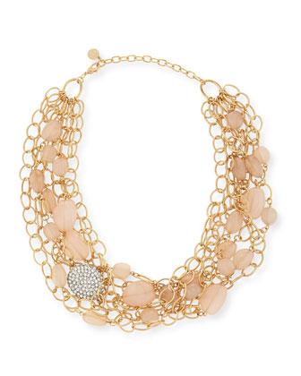 Layered Chain & Bead Bib Necklace