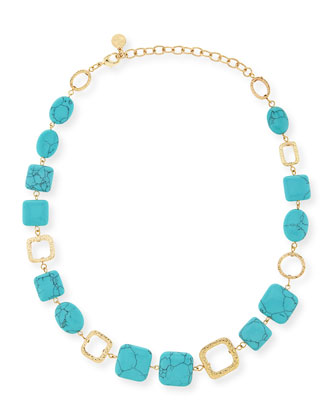 Turquoise-Hue Station Necklace
