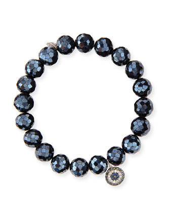 10mm Black Diamond Spinel Bead Bracelet with Disc Charm