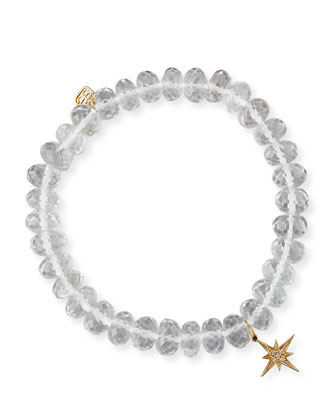 8mm Faceted Clear Quartz Bead Bracelet with Starburst Charm
