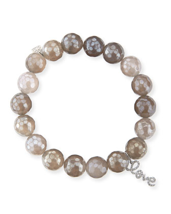 10mm Faceted Gray Chalcedony Bead Bracelet with 14k Gold Love Charm