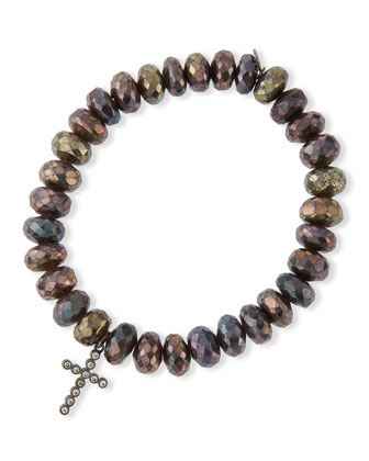 8mm Faceted Brown Rondelle Pyrite Bead Bracelet with 14k Gold Cross Charm ...