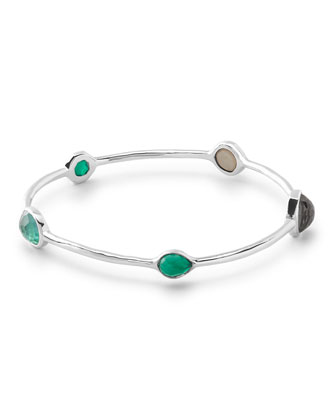 Wonderland Silver 5-Stone Bangle in Neptune