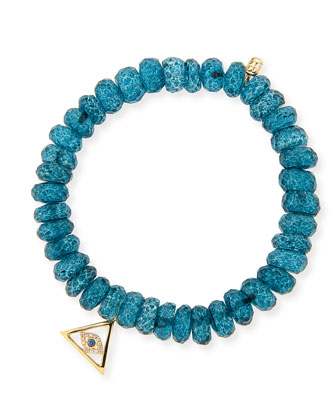 8mm Faceted London Blue Quartz Beaded Bracelet with 14k Gold Pyramid Evil ...