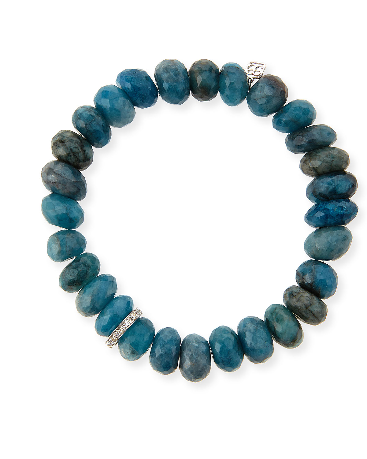 10mm Faceted Blue Chrysocolla Beaded Bracelet with 14k White Gold Diamond Disc, TURQUOISE - Sydney Evan