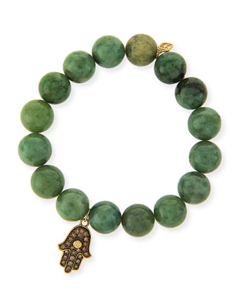 10mm Jade Beaded Bracelet with 14k Gold Diamond Hamsa Charm