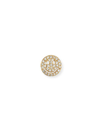 14k Pav?? Diamond Happy Face Single Stud Earring