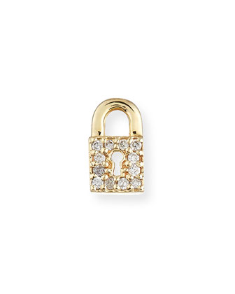 14k Diamond Lock Single Stud Earring