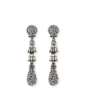 Crystal Deco Teardrop Earrings, Gunmetal