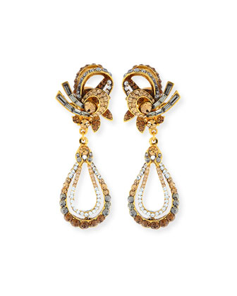 Gold-Plated Crystal Swirl Teardrop Clip Earrings