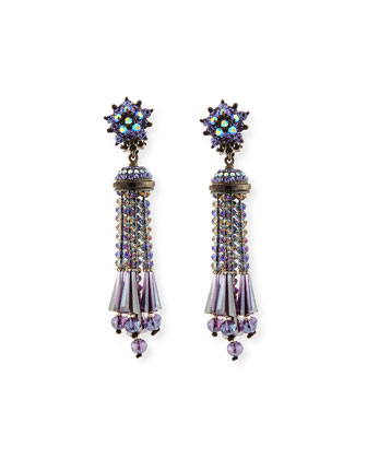 Beaded Tassel Drop Earrings, Gunmetal
