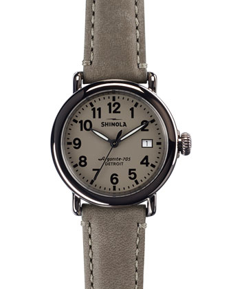 The Runwell Stainless Steel Watch with Gray Leather Strap, 36mm