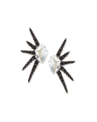 Marquis Clear Quartz Pave Starburst Earrings