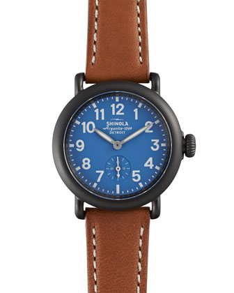 The Runwell Stainless Steel Watch with Tan Leather Strap, 36mm