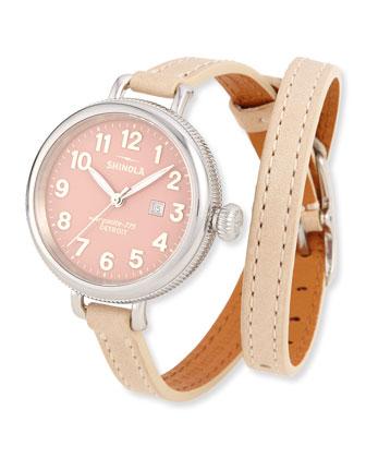 34mm Birdy Silvertone Double-Wrap Watch, Winter White