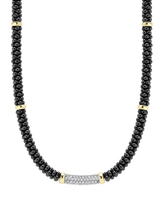 Black Caviar Diamond Station Necklace, 0.34ct.