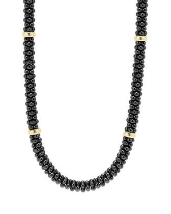 Black Caviar 8-Bar Beaded Necklace