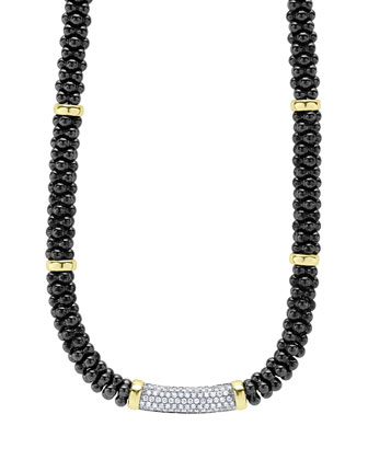 Black Caviar Diamond Station Necklace, 0.83ct.