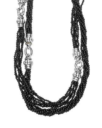 Black Caviar Multi-Strand Beaded Necklace