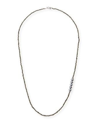 Freshwater Pearl Pyrite Necklace with Diamonds, 38