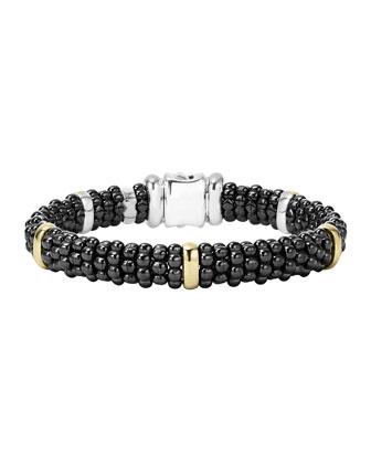 Black Caviar Rope Bracelet with Gold, 9mm