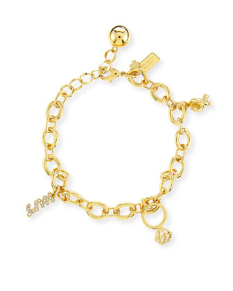 golden bridal charm bracelet