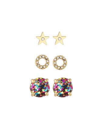 3-piece crystal stud earrings set, golden/multi